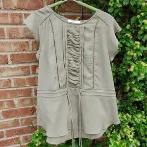 Ro & De khaki green short sleeve top M